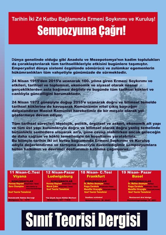 Sınıf Teorisi Dergisi Ermeni Soykırımı sempozyumlarına çağırıyor!