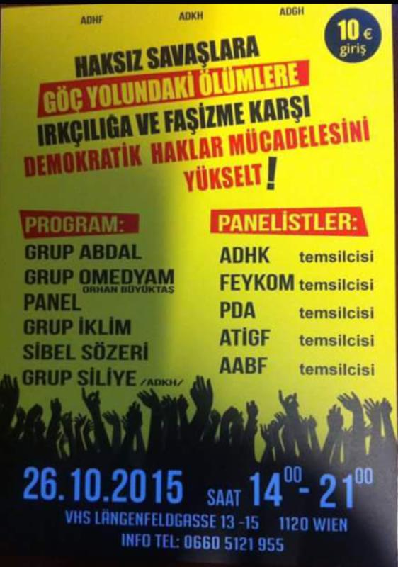 Viyana Demokratik Haklar Derneği'nin Düzenleyeceği Etkinlikte Buluşalım!