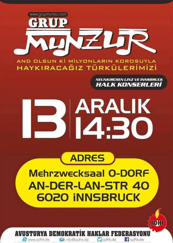 Grup Munzur ile Dayanışma Konseri (13 Aralık 2015 Innsbruck)