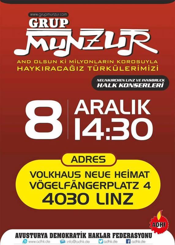 Grup Munzur ile Dayanışma Konseri (8 Aralık 2015 Linz)