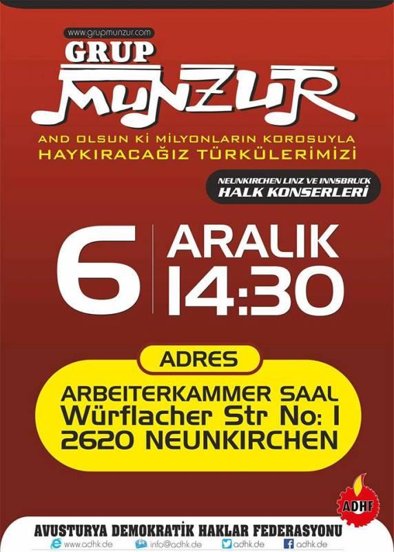 Grup Munzur ile Dayanışma Konseri (6 Aralık 2015 Neunkirchen)
