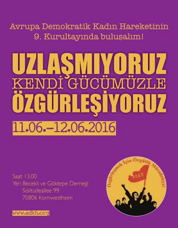 Avrupa Demokratik Kadın Hareketi 9. Kurultayında Buluşalım!