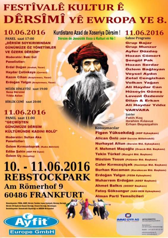 Avrupa Dersim Kültür Festivali 10-11 Haziran tarihleri arasında Frankfurt'ta gerçekleşecek