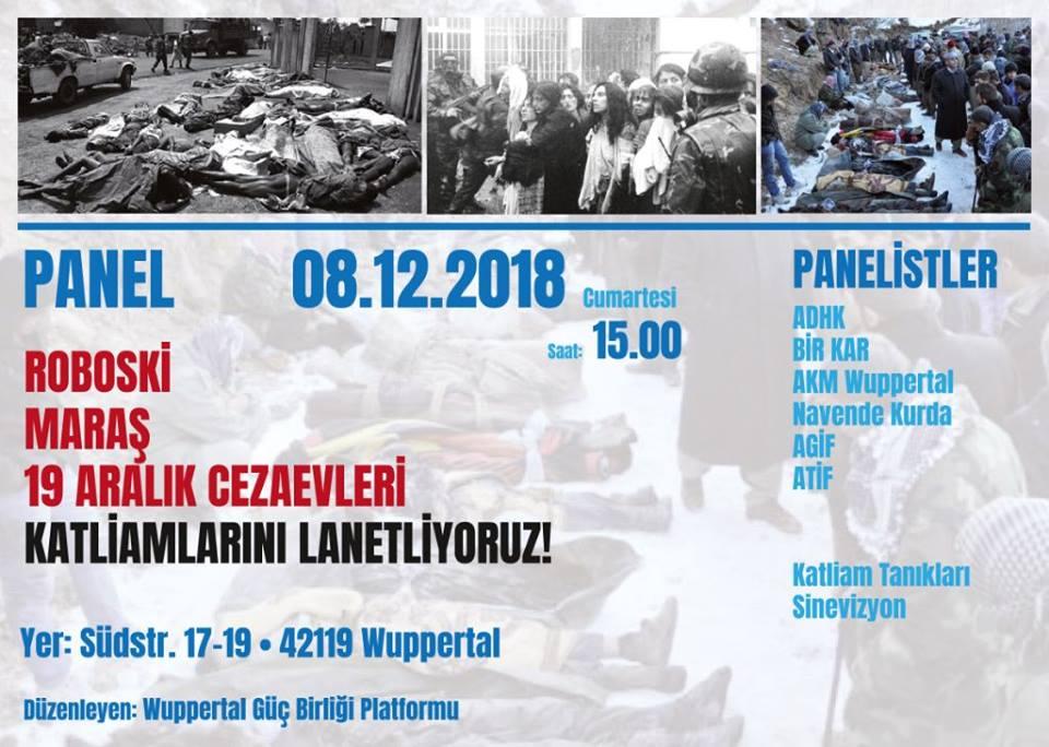 Panel; Roboski, Maraş, 19 Aralık cezaevleri katliamlarını lanetliyoruz!