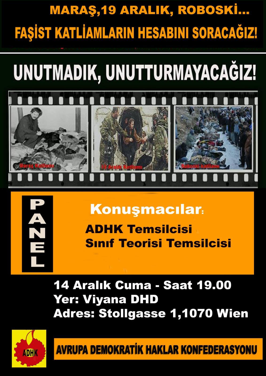 Panel; Roboski, Maraş, 19 Aralık faşist katliamların hesabını soracağız!