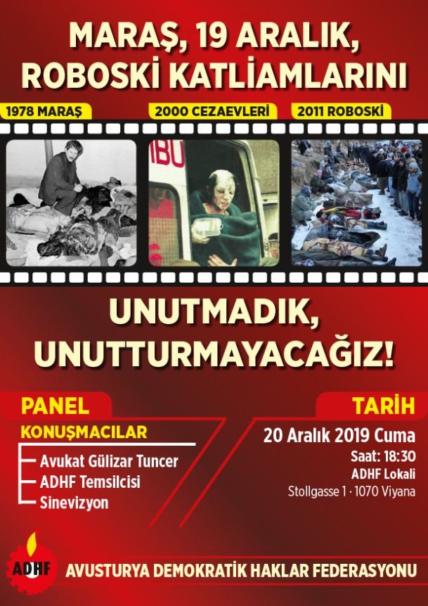 Maraş, 19 Aralık Hapishaneler, Roboski Katliamlarını Unutmadık, Unutturmayacağız!
