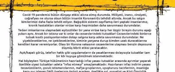 Anti-Korona Avrupa Koordinasyonu'ndan siyasi tutsaklar için kampanya