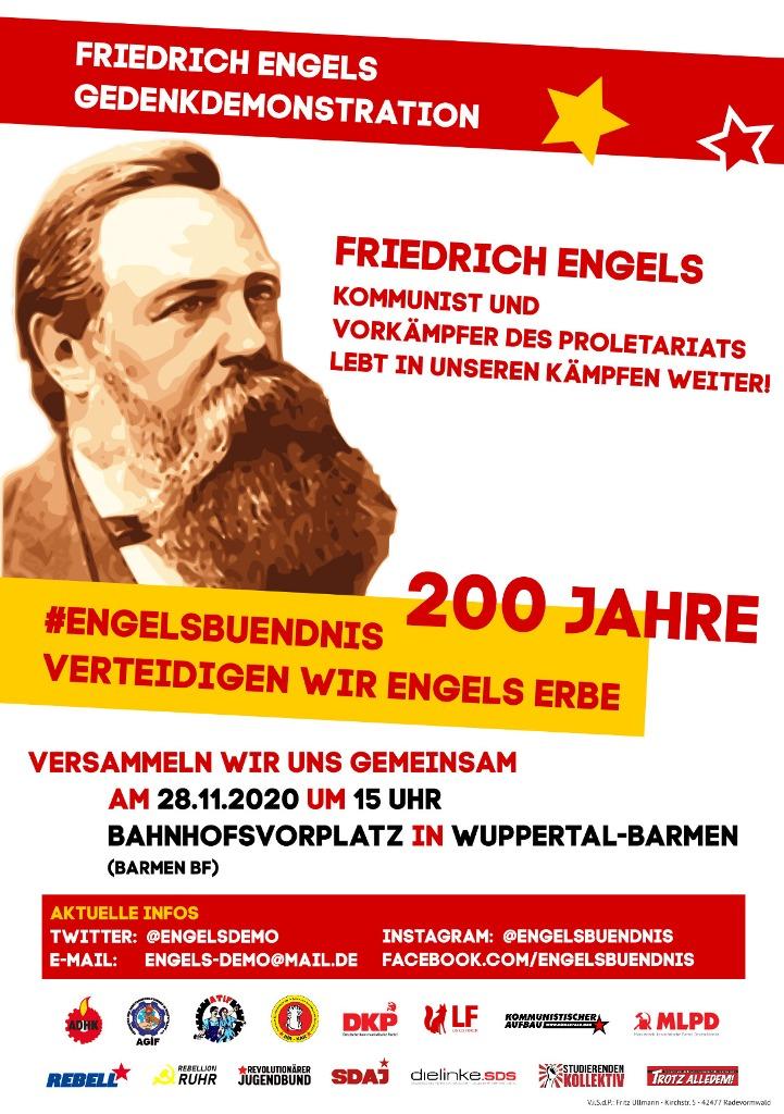 Friedrich Engels, Kommunist und Vorkämpfer des Proletariats lebt in unseren Kämpfen weiter!