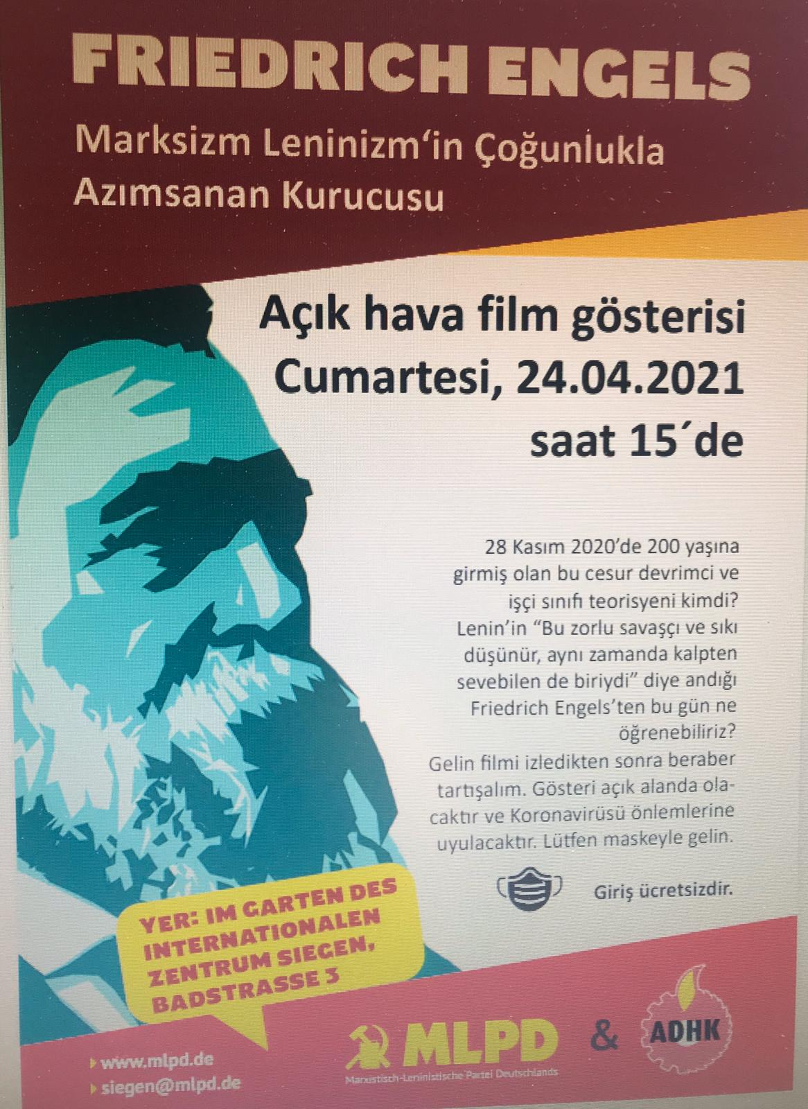 Friedrich Engels, Açık hava film gösterisi